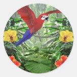 Selva tropical tropical pegatinas redondas