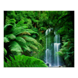 Selva tropical y cascadas póster