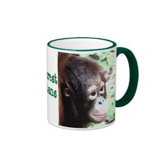 Selva tropical y orangutanes tazas