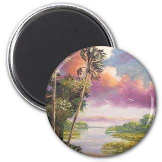 Selva virgen ventosa de las palmeras imán redondo 5 cm