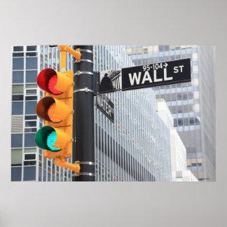 Semáforo y muestra de Wall Street Poster