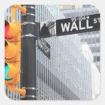 Semáforo y muestra de Wall Street Pegatina Cuadradas