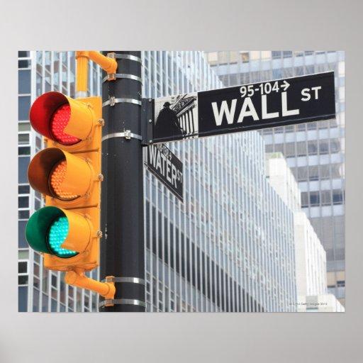 Semáforo y muestra de Wall Street Póster