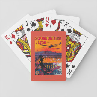 Semaine d' Aviation De Lyon Vintage Poster Playing Cards