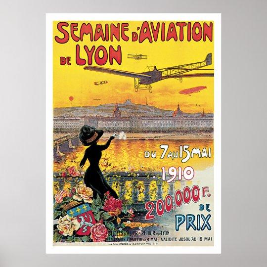 Semaine d' Aviation de Lyon Vintage Travel Poster