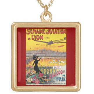 Semaine d' Aviation de Lyon Vintage Travel Poster Gold Plated Necklace