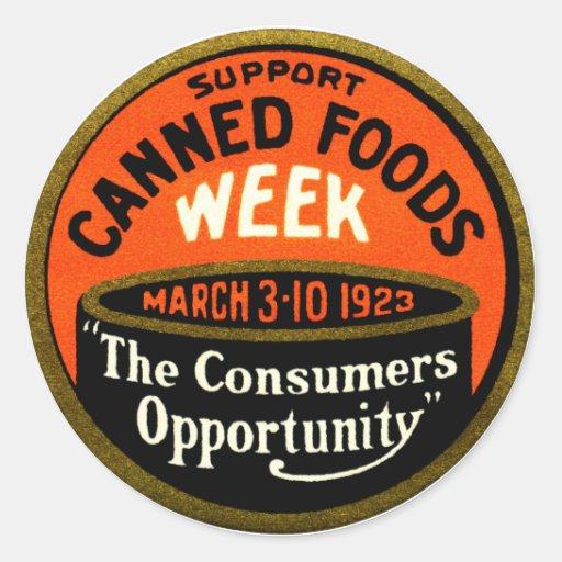 Semana de 1923 comidas conservadas pegatina redonda