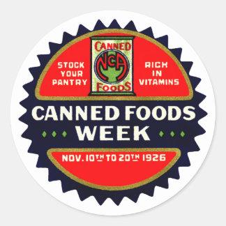 Semana de 1926 comidas conservadas pegatinas redondas