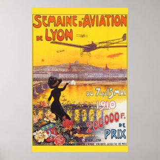 Semana de la aviación del vintage en Lyon Francia Póster