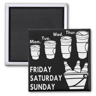 Semana del café y fin de semana de la cerveza imán cuadrado