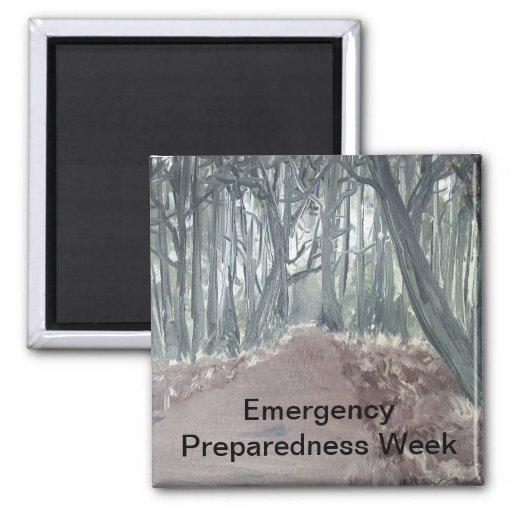 Semana del estado de preparación de la emergencia imán cuadrado