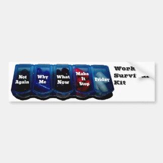 Semana del trabajo/equipo de supervivencia del lug etiqueta de parachoque