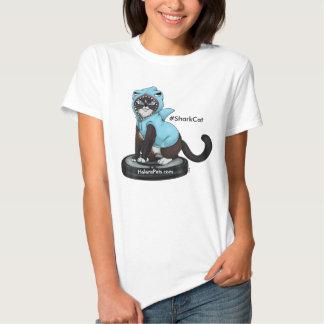 Semana feliz del tiburón de la camiseta del gato poleras