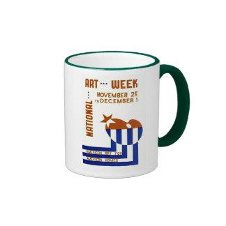Semana nacional del arte - poster de WPA - Tazas