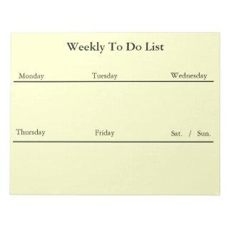 Semanario para hacer la libreta de la lista (blanc bloc