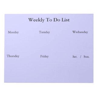 Semanario para hacer la libreta de la lista libreta para notas