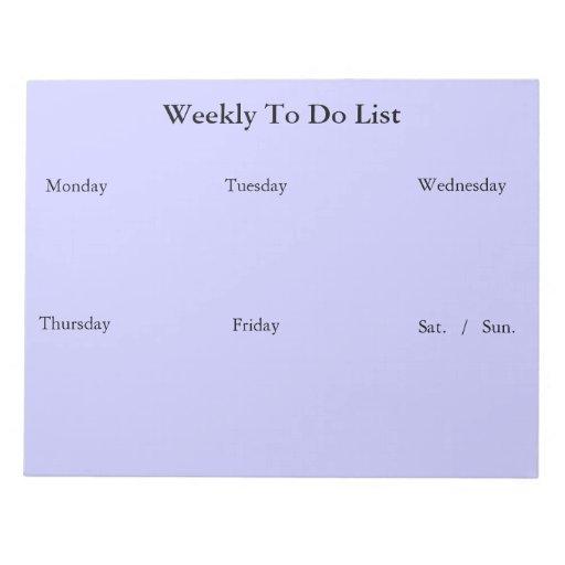 Semanario para hacer la libreta de la lista bloc de notas