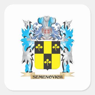 Semenovich Coat of Arms - Family Crest Square Sticker
