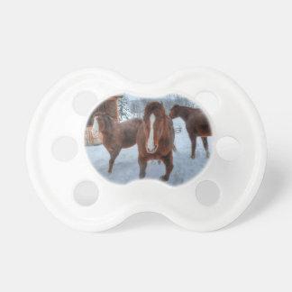Semental amoroso divertido y caballos reacios de chupete de bebé