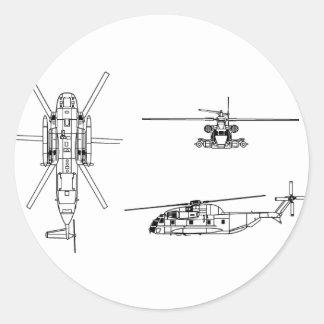 Semental del mar CH-53 Pegatina Redonda