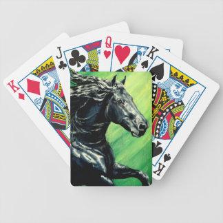 Semental frisio de la belleza del negro del caball baraja cartas de poker
