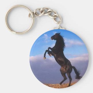 Semental negro salvaje que alza el caballo llavero redondo tipo pin