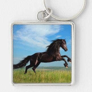 semental negro y salvaje que alza el caballo llavero cuadrado plateado