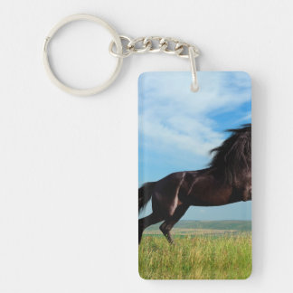 semental negro y salvaje que alza el caballo llavero rectangular acrílico a una cara