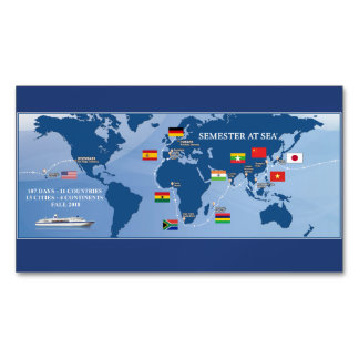 Semester At Sea Magnetic Map - Fall 2018 Business Card Magnet