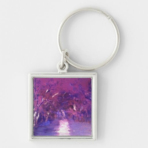 Semi abstract, purple haze landscape key chain