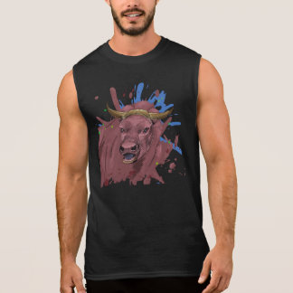 Semi Abstract Red Bull Portrait Contemporary Art Sleeveless Shirt