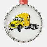 Semi amarillo del taxi del camión ornamente de reyes