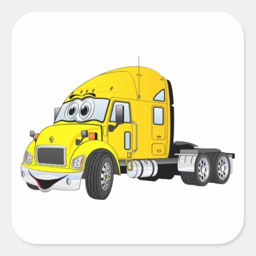 Semi amarillo del taxi del camión calcomanias cuadradas