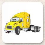 Semi amarillo del taxi del camión posavasos de bebida