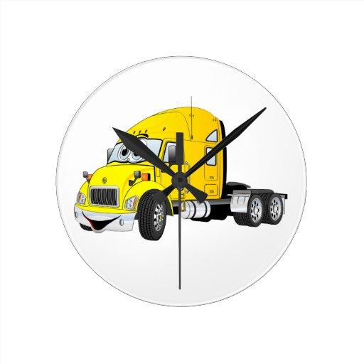 Semi amarillo del taxi del camión reloj