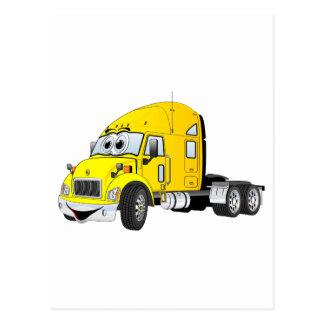 Semi amarillo del taxi del camión tarjetas postales