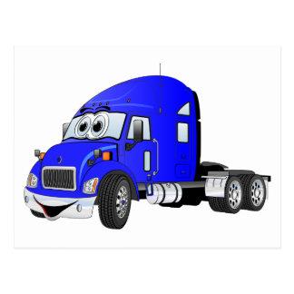 Semi azul del taxi del camión tarjetas postales