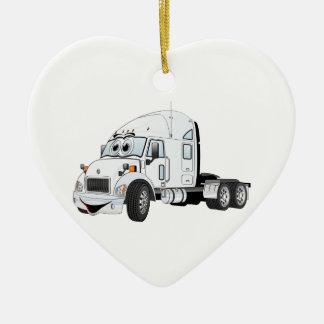 Semi blanco del taxi del camión adornos de navidad