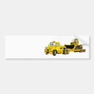 Semi Bulldozer Yellow Cartoon Bumper Sticker
