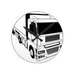 Semi camión blanco y negro reloj de pared