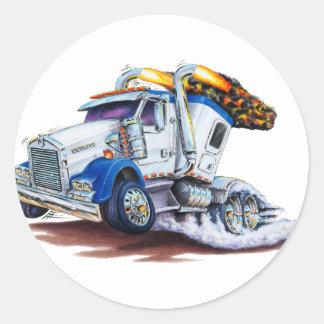 Semi camión con Sleepercab Pegatina Redonda