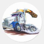 Semi camión pegatina redonda