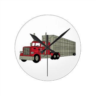 Semi camión reloj redondo mediano