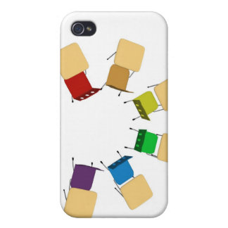 semi circle of colorful desks case for iPhone 4