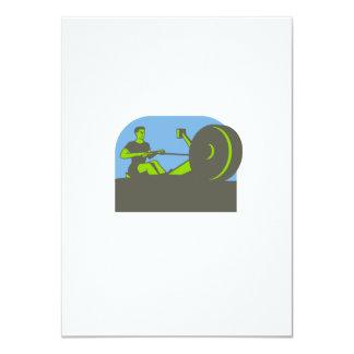 """Semi-círculo del aparato de remar del Rower retro Invitación 4.5"""" X 6.25"""""""