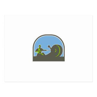 Semi-círculo del aparato de remar del Rower retro Tarjetas Postales