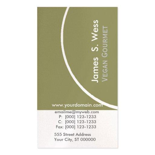Semi-círculo único moderno de la verde salvia w tarjetas de visita