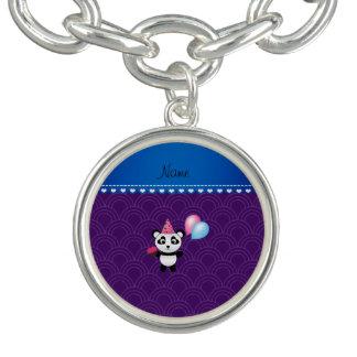Semi-círculos conocidos de encargo de la púrpura pulsera con dije