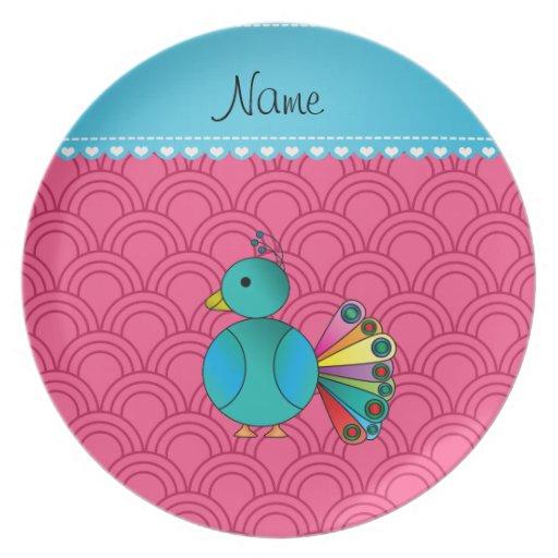 Semi-círculos conocidos personalizados del rosa plato de comida