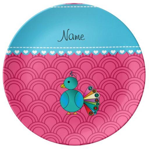 Semi-círculos conocidos personalizados del rosa platos de cerámica